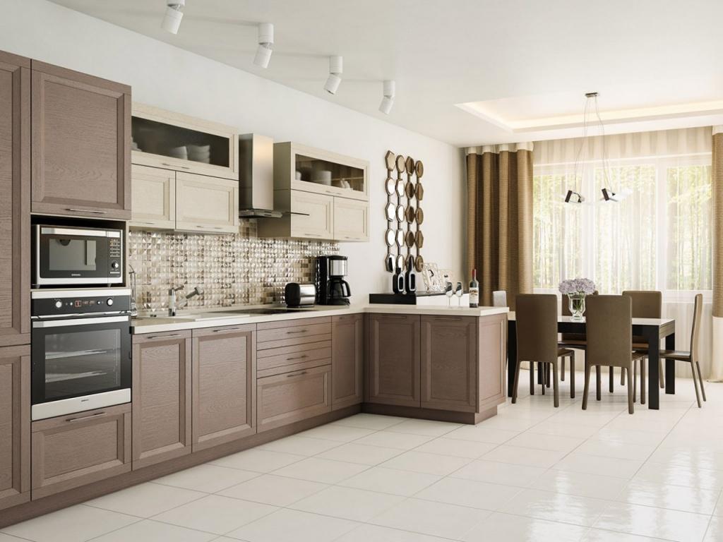 Современная кухня и гостиная